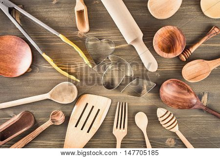 Set of kitchen utensils on the table top view