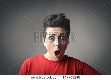 Shocked spellbound woman