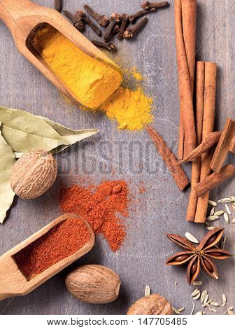 Several kinds of spices on the table top view
