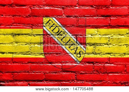 Flag Of Karlsruhe With Coat Of Arms, Germany, Painted On Brick Wall