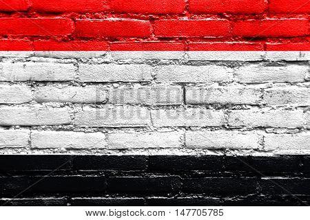 Flag Of Kuyavian-pomeranian Voivodeship, Poland, Painted On Brick Wall