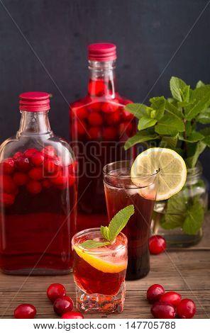 Shots and bottles of artisan cranberry alcoholic beverage