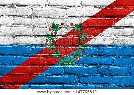 Flag Of La Rioja Province, Argentina, Painted On Brick Wall