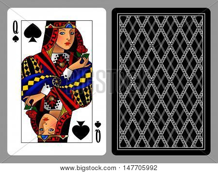 Queen of Spades playing card and the backside background. Colorful original design