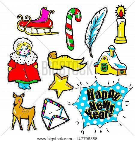 Set of New Year stickers, pins, patches in 80s-90s comic style. Fashion badges with star, sled, candy, candle, girl, deer, letter. Cartoon Christmas vector elements