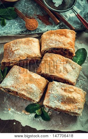 Sliced homemade apple strudel with dried fruits on table rustic style.Top view.Toned.