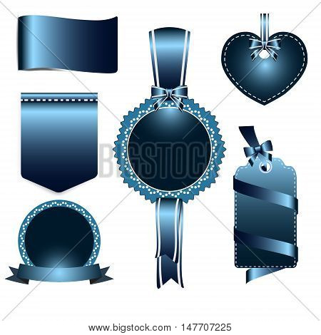 Set of navy blue badges label and ribbon Greeting card vector tag illustration
