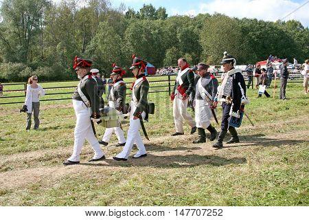 BORODINO RUSSIA - September 09.2009: Participants of reconstruction of the Borodino battle on the field. Free access to public presentation the reconstruction of the Battle of Borodino field in 1812 year