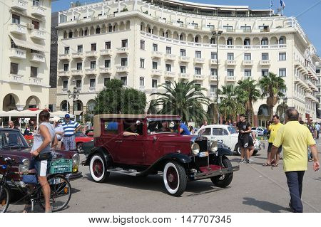 Thessaloniki, Greece - September 18 2016: Chevrolet from 30s historic car show. Part of a free one-day exhibition at Aristotelous square in the center of the city.