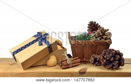 Christmas baking with cinnamon raisins and vanilla. to create a festive atmosphere. Handmade gifts.Christmas arrangement isolated on white background without shadows. Home comfort. Fun for family and friends.