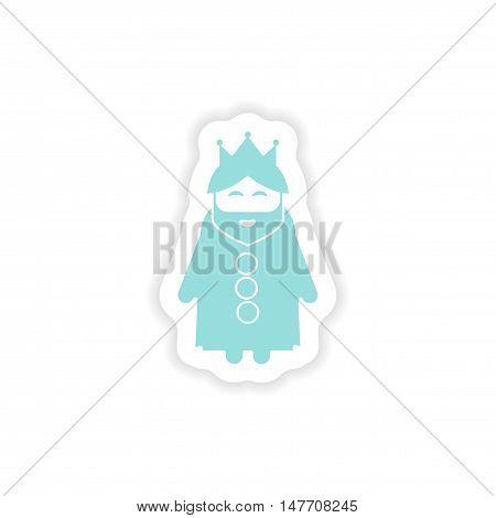 paper sticker on white background  king cartoon