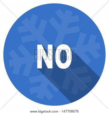 no blue flat design christmas winter web icon with snowflake