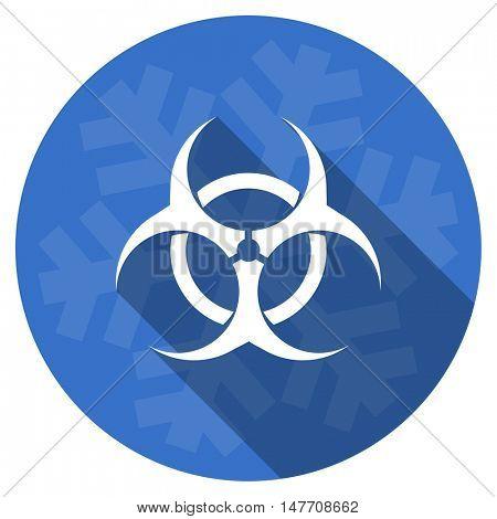 biohazard blue flat design christmas winter web icon with snowflake