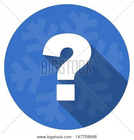 question mark blue flat design christmas winter web icon with snowflake