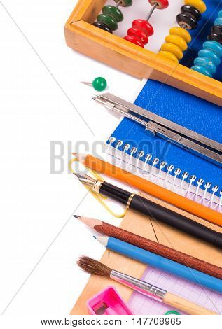 Stationary objects at right side on white background