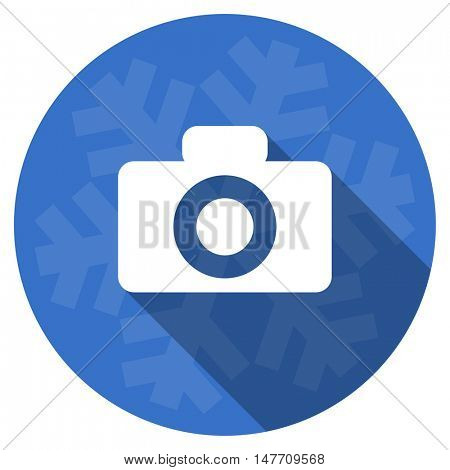 camera blue flat design christmas winter web icon with snowflake