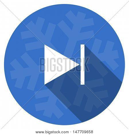 next blue flat design christmas winter web icon with snowflake