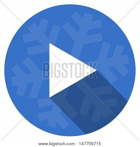 play blue flat design christmas winter web icon with snowflake