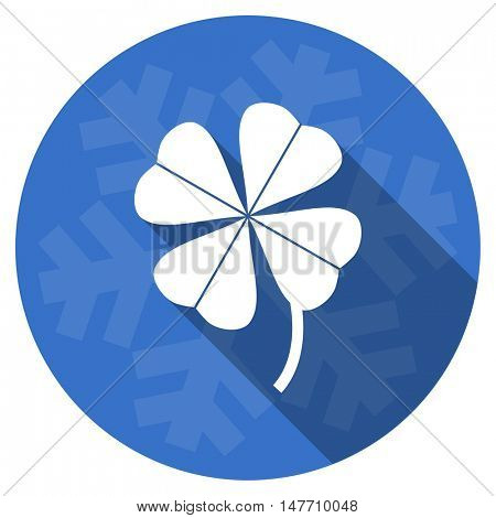 four-leaf clover blue flat design christmas winter web icon with snowflake