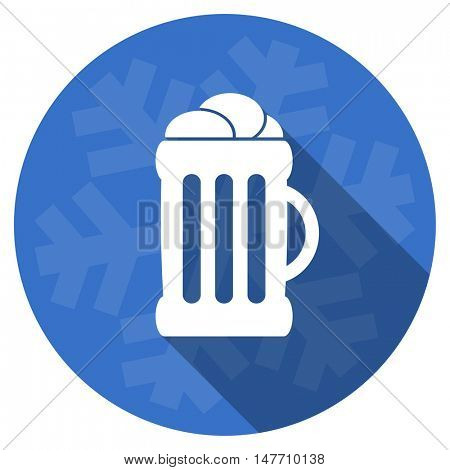beer blue flat design christmas winter web icon with snowflake