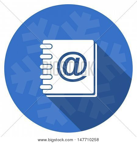 address book blue flat design christmas winter web icon with snowflake