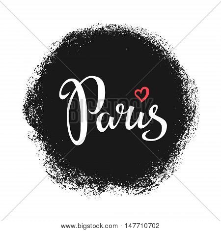 Paris hand drawn vector lettering. Modern calligraphy brush lettering. Paris ink lettering. Design element for cards banners T shirt prints. Paris lettering isolated on white background