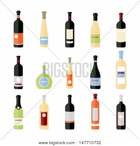 Set of wine bottles in flat. Isolated flat wine bottles. Different kinds of wine bottles. Design elements for banners wine markets alcohol advertising bars and vineyards. Red white sparkling wine