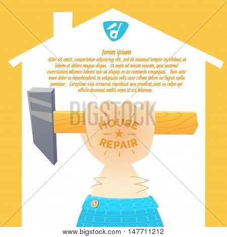 Stylish poster logo in cartoon style. The hand of the worker locksmith painter plasterer carpenter. Vector illustration.
