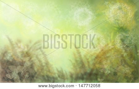 Herbal background.Multi-colored spots, lines and blots in the conventional vegetable background. Horizontal illustration.