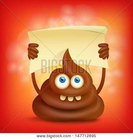 Funny cartoon poop cut emoji character with banner. Vector illustration