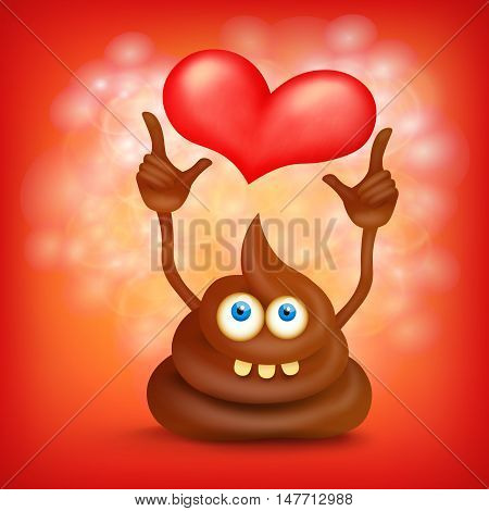 Funny cartoon poop cut emoji character with heart. Vector illustration
