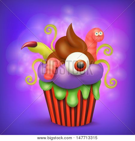 Halloween spookey cupcake with eye worm and finger. Vector illustration