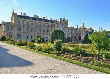 beautiful castle historical monument Lednice historical Lednice Valticko area. Czech Republic