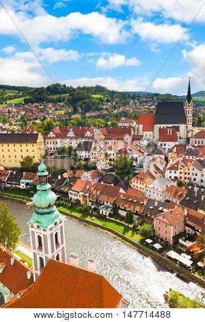 View on the Old Town Cesky Krumlov, Czech Republic