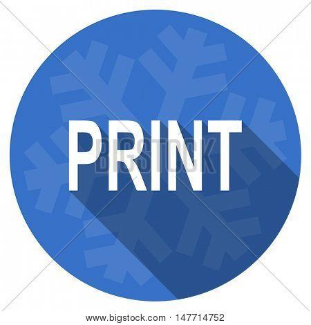 print blue flat design christmas winter web icon with snowflake