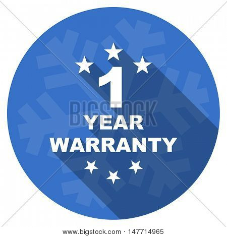 warranty guarantee 1 year blue flat design christmas winter web icon with snowflake