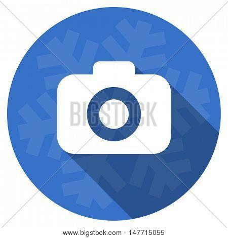 photo camera blue flat design christmas winter web icon with snowflake