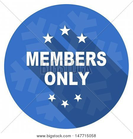 members only blue flat design christmas winter web icon with snowflake