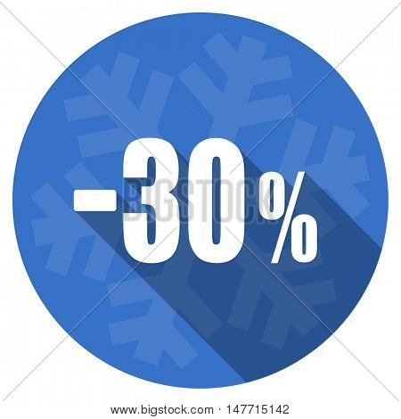 30 percent sale retail blue flat design christmas winter web icon with snowflake