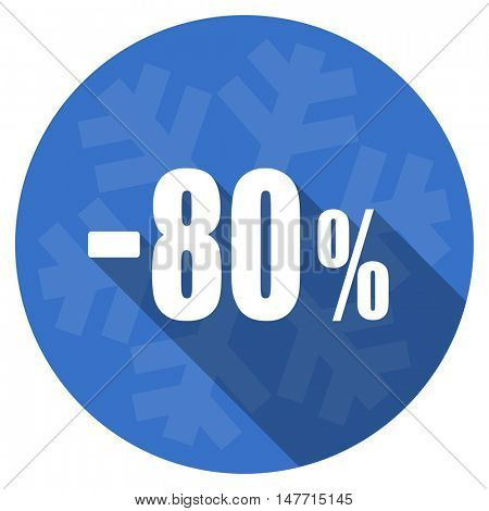 80 percent sale retail blue flat design christmas winter web icon with snowflake