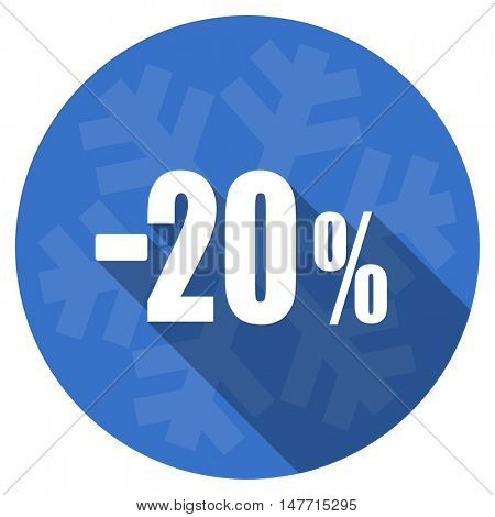 20 percent sale retail blue flat design christmas winter web icon with snowflake