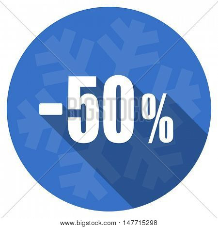 50 percent sale retail blue flat design christmas winter web icon with snowflake