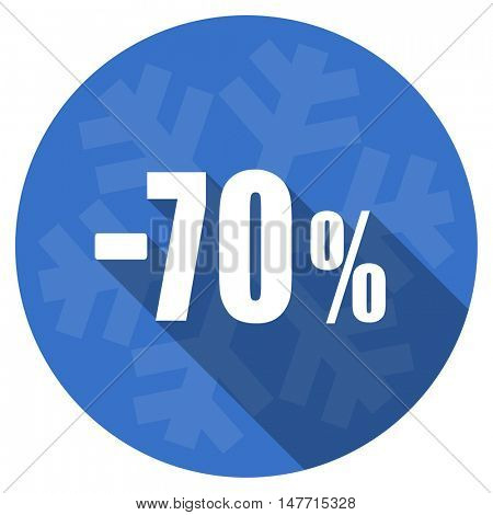 70 percent sale retail blue flat design christmas winter web icon with snowflake