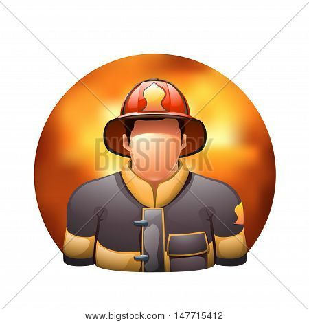 illustration of fireman on fire round background on white background