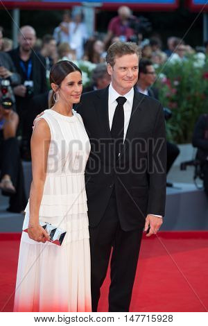Colin Firth, Livia Giuggioli  at the premiere of Nocturnal Animals at the 2016 Venice Film Festival. September 2, 2016  Venice, Italy