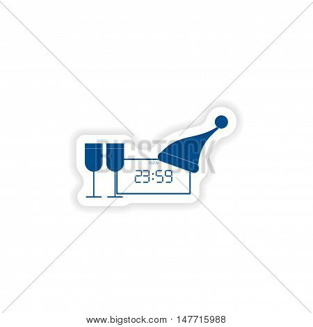 paper sticker on white background  clock wineglasses