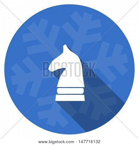 chess horse blue flat design christmas winter web icon with snowflake