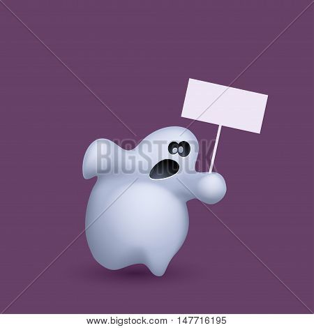 illustration of running ghost with board on violet background
