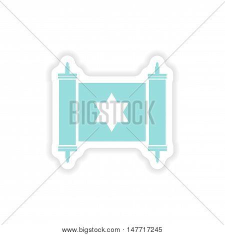 paper sticker on white background  scroll Torah