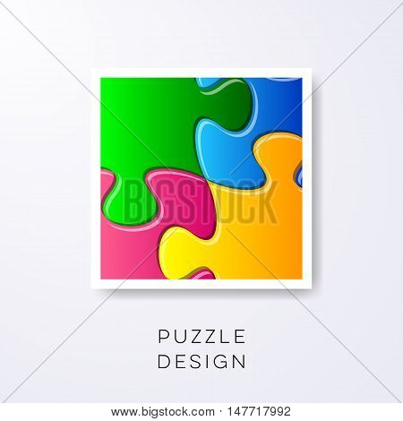 Vector colorful puzzle pieces joined together detail label